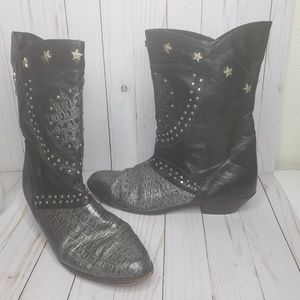 Black Leather Snake and Stars Cowboy Boots